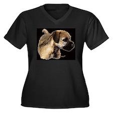 Cute Terrier Women's Plus Size V-Neck Dark T-Shirt