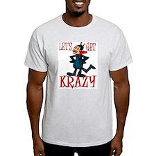 """Get Krazy"" Classic Comic Cat Ash Grey T-Shirt"