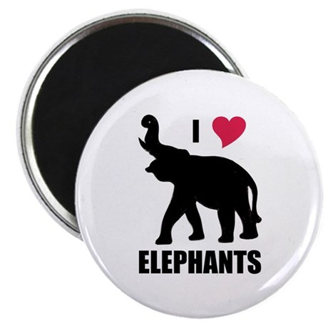 I Love Elephants Magnet