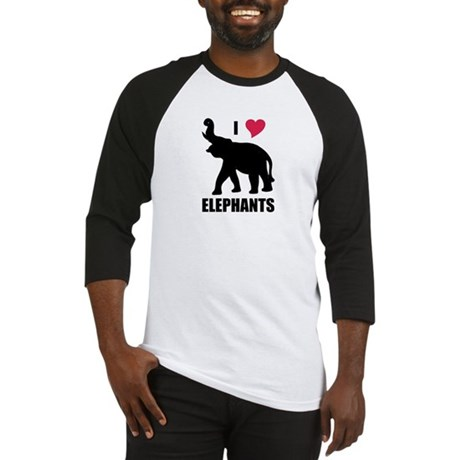 I Love Elephants Baseball Jersey