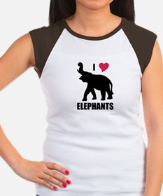I Love Elephants Women's Cap Sleeve T-Shirt
