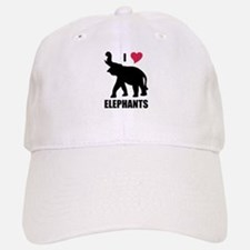 I Love Elephants Baseball Baseball Cap