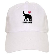 I Love Elephants Baseball Cap