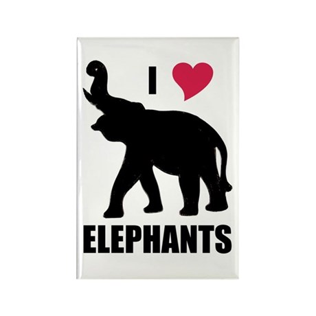 I Love Elephants Rectangle Magnet