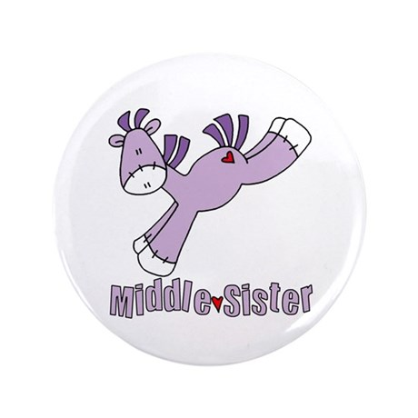 """Sock Pony Middle Sister 3.5"""" Button"""