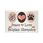 Peace Love Belgian Sheepdog Rectangle Magnet