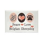 Peace Love Belgian Sheepdog Rectangle Magnet (100