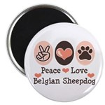 Peace Love Belgian Sheepdog Magnet