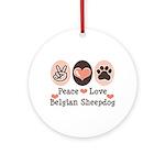 Peace Love Belgian Sheepdog Ornament (Round)