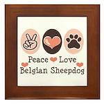 Peace Love Belgian Sheepdog Framed Tile