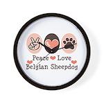 Peace Love Belgian Sheepdog Wall Clock