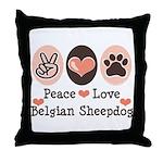 Peace Love Belgian Sheepdog Throw Pillow