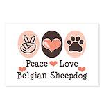 Peace Love Belgian Sheepdog Postcards (Package of