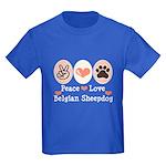 Peace Love Belgian Sheepdog Kids Dark T-Shirt
