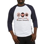 Peace Love Belgian Sheepdog Baseball Jersey