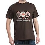 Peace Love Belgian Sheepdog Dark T-Shirt