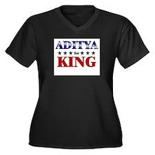 ADITYA for king Women's Plus Size V-Neck Dark T-Sh