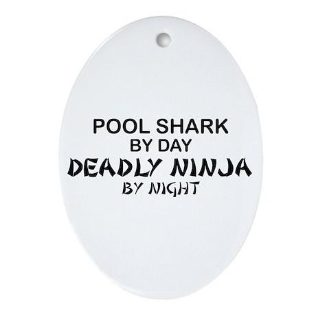 Pool Shark Deadly Ninja Oval Ornament