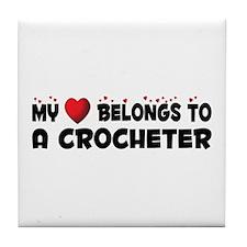 Belongs To A Crocheter Tile Coaster
