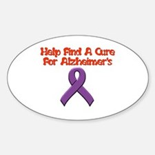 Alzheimer's help find cure Oval Decal