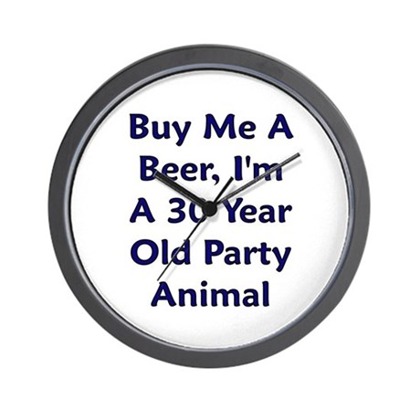 Beer, 30 Year Party Animal Wall Clock