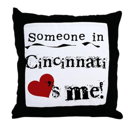 Cincinnati Loves Me Throw Pillow