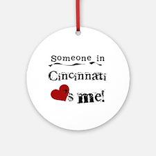 Cincinnati Loves Me Ornament (Round)
