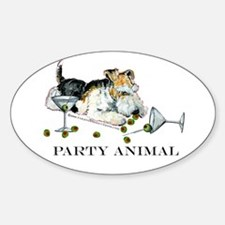 Fox Terrier Party Animal Oval Decal