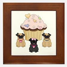 Pug Dog Cupcakes Framed Tile