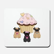 Pug Dog Cupcakes Mousepad
