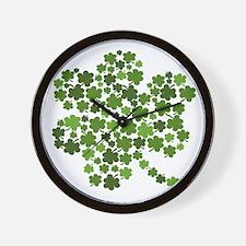 Irish Shamrocks in a Shamrock Wall Clock