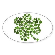 Irish Shamrocks in a Shamrock Oval Decal