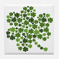 Irish Shamrocks in a Shamrock Tile Coaster