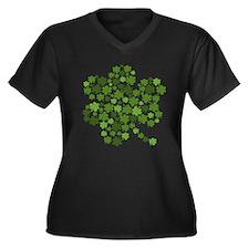 Irish Shamrocks in a Shamrock Women's Plus Size V-