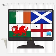 UKFlags Computer Screen With On But Shower Curtain