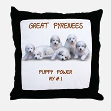 """Great Pyrenees Throw Pillow """"Puppy Power"""""""
