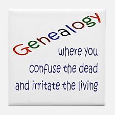 Genealogy Confusion (blue) Tile Coaster