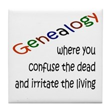 Genealogy Confusion (black) Tile Coaster