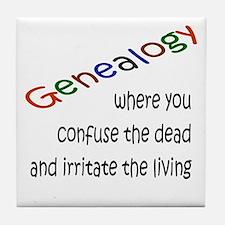 Genealogy Confusion (black) Tile Coaster
