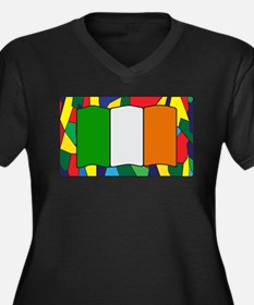 Ireland Flag On Stained Glass Plus Size T-Shirt