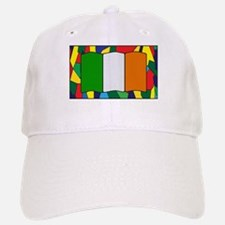 Ireland Flag On Stained Glass Baseball Baseball Cap