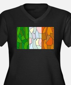 Ireland Flag Stained Glass Windo Plus Size T-Shirt