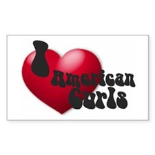 """I Love AmCurls"" Rectangle Decal"
