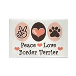 Peace Love Border Terrier Rectangle Magnet (10 pac