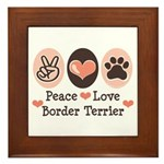 Peace Love Border Terrier Framed Tile