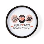 Peace Love Border Terrier Wall Clock