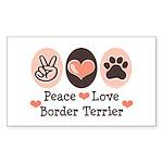 Peace Love Border Terrier Rectangle Sticker
