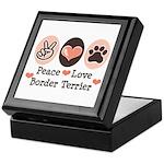 Peace Love Border Terrier Keepsake Box