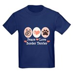 Peace Love Border Terrier Kids Dark T-Shirt