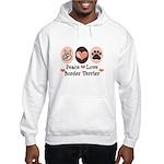 Peace Love Border Terrier Hooded Sweatshirt